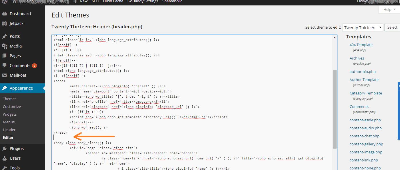 analytics code placing
