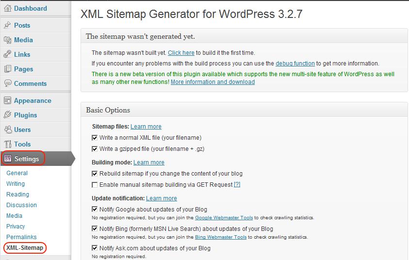 Google-XML-Sitemap-WordPress-plugin-configuration