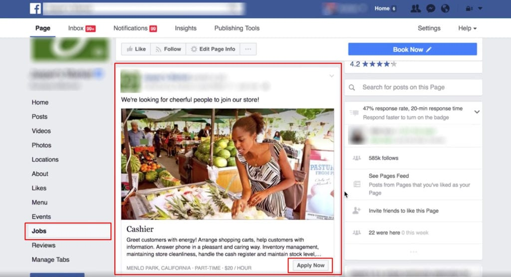 New Facebook Feature - Jobs in USA and Canada
