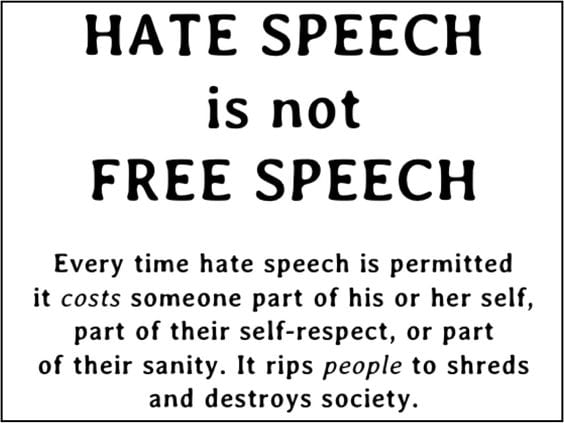 Hate-Speech is NOT Freedom of Speech