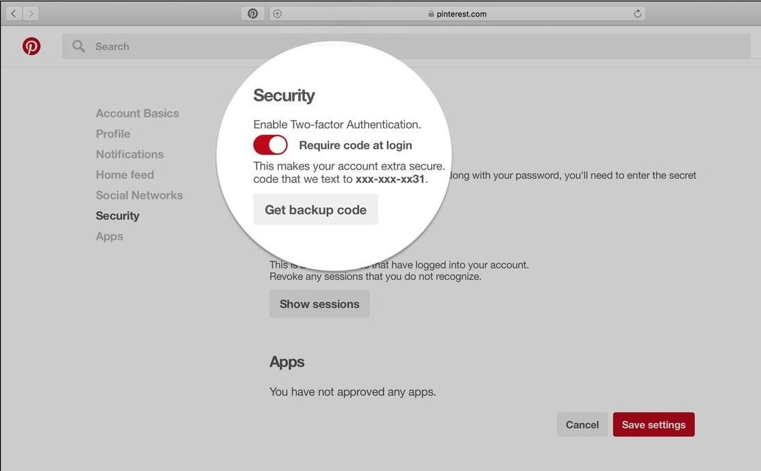 two factor security - pinterest - social media