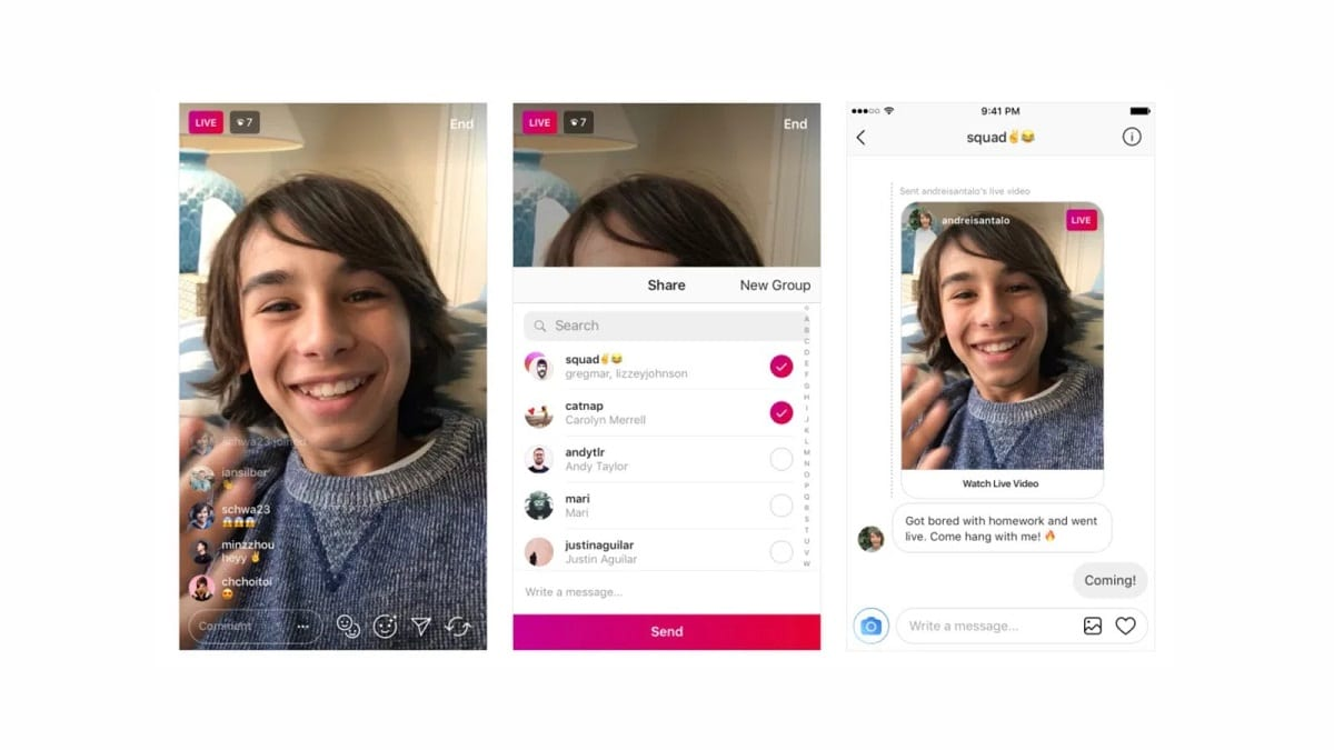 Instagram users can now share live videos through direct messages