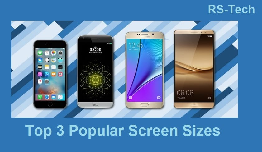 Top 3 most popular smartphone screen sizes