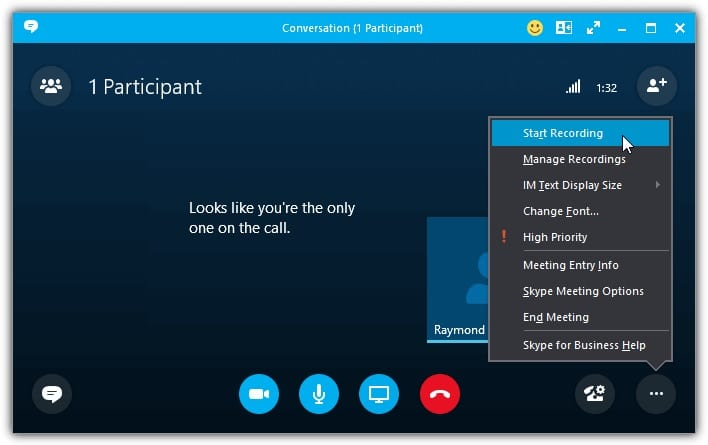 Skype call recording feature