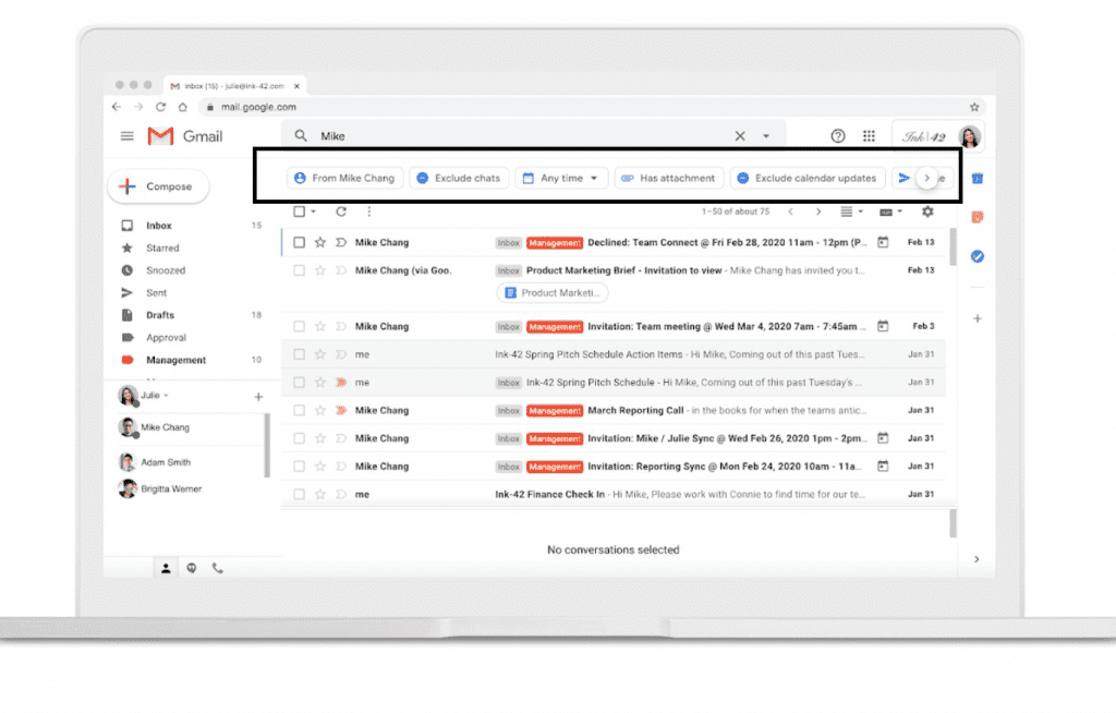 Gmail search chips