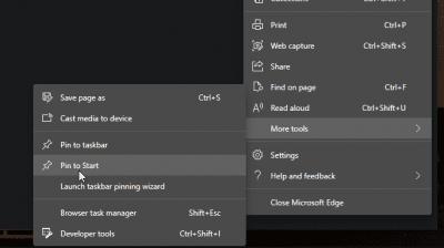 pin web pages to start menu