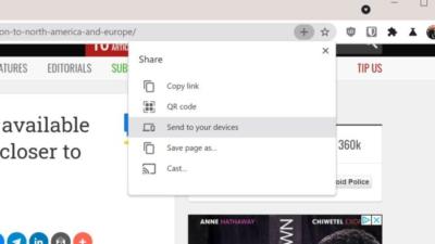 Chrome sharing menu