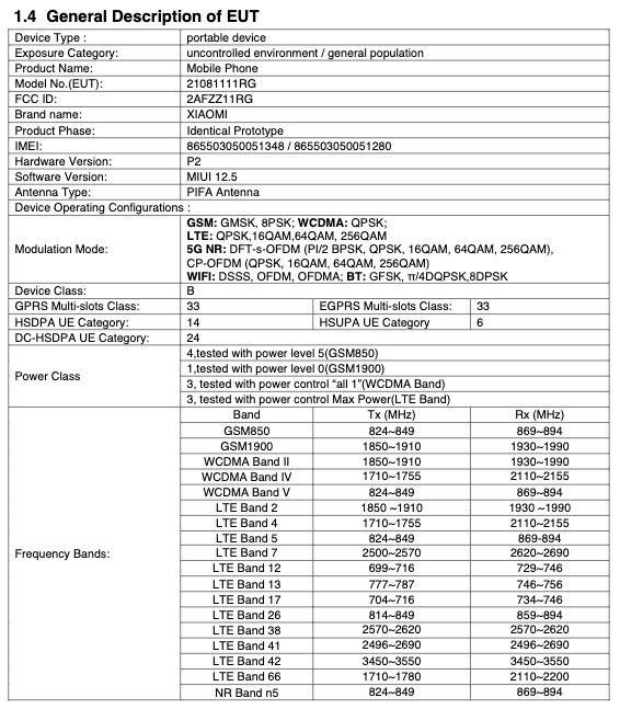 Mi 11T FCC Certification
