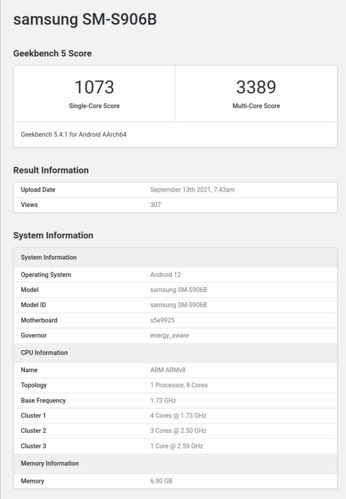 Samsung Galaxy S22+ with Exynos 2200 Geekbench